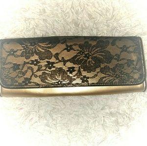 Black front lace & Gold Clutch